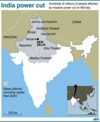 Map of India locating the nine states including the capital New Delhi, which were hit by a massive power cut on Monday