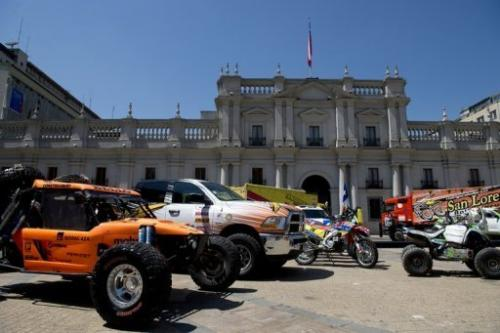 Motorcycles, cars and trucks are pictured during a ceremony to launch the Dakar Rally in Santiago on December 12, 2012