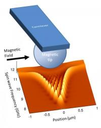 Nanoscale magnetic media diagnostics by rippling spin waves