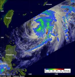 NASA looks at Typhoon Mawar, now heading to sea