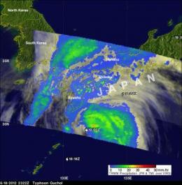 NASA saw Tropical Storm Guchol's rainfall drench Japan