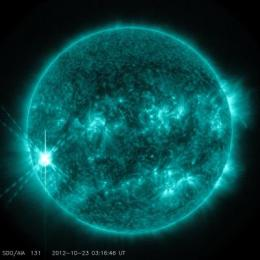 NASA sees active region on the sun emit another flare