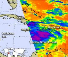 NASA sees a strengthening Tropical Storm Ernesto