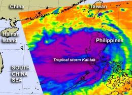 NASA sees large Tropical Storm Kai-tak headed for a landfall near Hong Kong