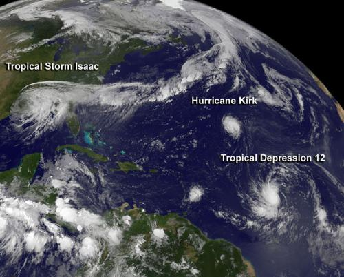 NASA spies fifth Atlantic hurricane and twelfth tropical depression