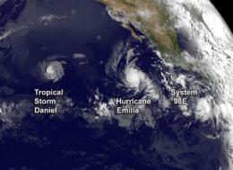 Satellite sees two tropical cyclones chase Tropical Storm Daniel