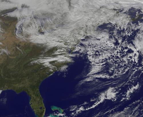 Satellite still shows Sandy's remnant clouds over eastern Canada and the northeastern US