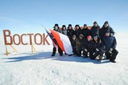Scientists from Russia's research station Vostok pose in 2009