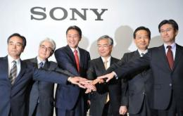 Sony president Kazuo Hirai (third-left) says the revamp would cost nearly $1.0 billion this year
