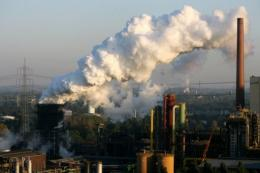 Steam rises from a coking plant in Germany