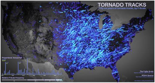 Stunning Visualization of 56 Years of Tornadoes in the US