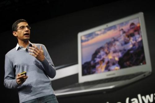 Sundar Pichai, senior vice president of Chrome, introduces the new Chromebook and Chromebox on 28 June 2012