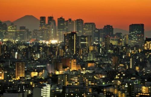 Sunset in the Shinjuku area of Tokyo