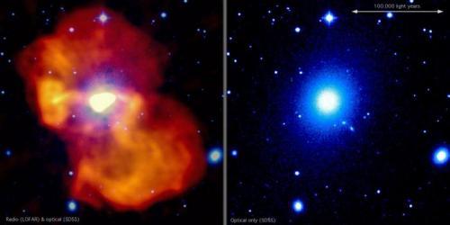 Super-massive black hole inflates giant bubble