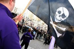 Supporters of The Pirate Bay demonstrate in Stockholm in 2009