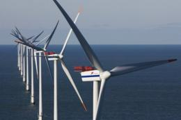The Horns Reef wind farm in Denmark, 20 kms (12 miles) off the port of Esbjerg