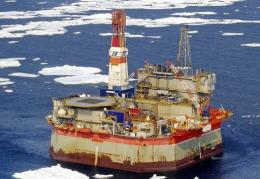 The Molikpaq offshore oil platform, stands off Sakhalin island