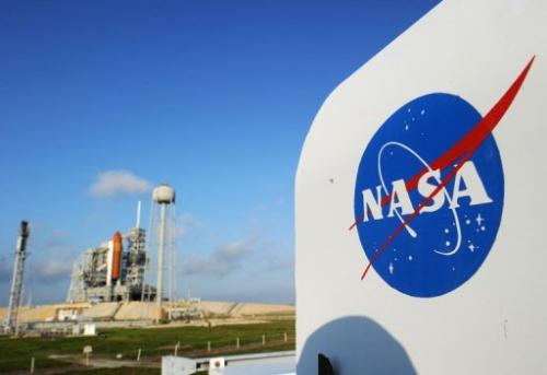 The NASA logo on a protective box for a camera near the space shuttle Endeavour in 2011 at Kennedy Space Center in Florida