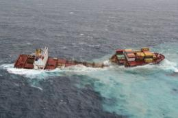 The Rena is now in two pieces after being pounded by waves up to seven metres high