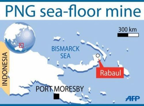 The sea-floor mine is located in the Bismarck Sea, 50 kilometres (31 miles) north of Rabaul