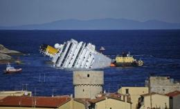 The stricken cruise liner Costa Concordia off the Isola del Giglio in January 2012