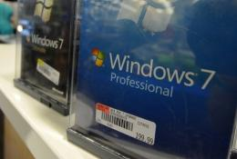 The Windows 7 software is for sale at an electronics store in Los Angeles