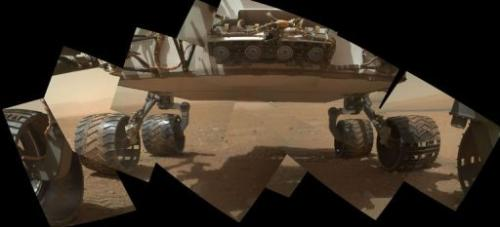 This is a view of the lower front and underbelly areas of NASA's Mars rover Curiosity