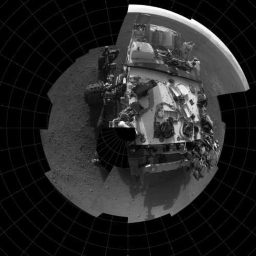 This self-portrait shows the deck of NASA's Curiosity rover from the rover's Navigation camera