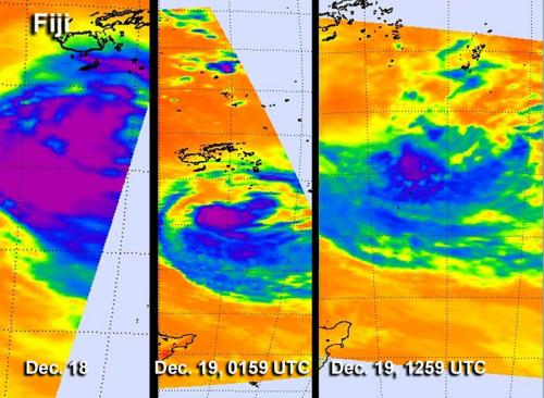 Time series of infrared NASA images show Cyclone Evan's decline