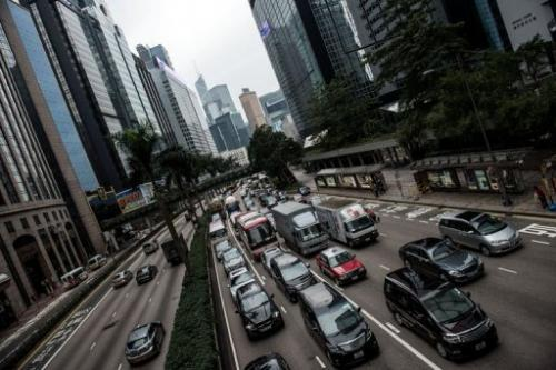 Traffic gridlock is seen in Hong Kong