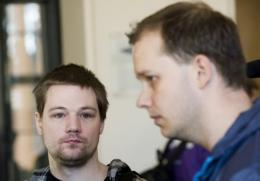 Two co-founders of the file-sharing website The Pirate Bay, Fredrik Neij (L) and Peter Sunde