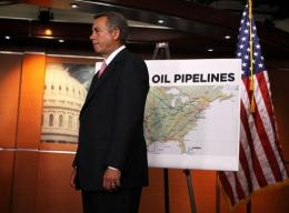 US Speaker of the House John Boehner holds a press conference following Obama's rejection of the Keystone project