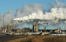 View of the Syncrude oil sands extraction facility near the town of Fort McMurray in Alberta Province, Canada, in 2009