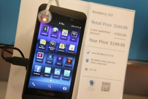 A BlackBerry Z10 is offered for sale, March 28, 2013 in Chicago, Illinois