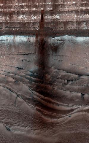 A dark and dusty avalanche on mars