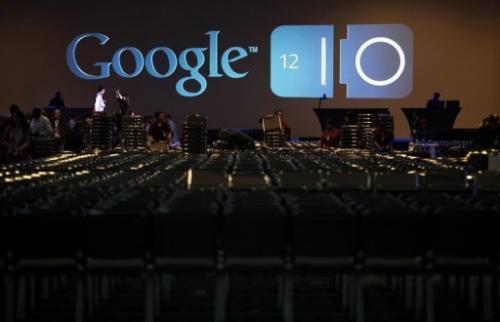A Google logo is seen on a monitor at the company's annual developer conference in San Francisco on June 28, 2012