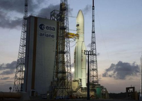 An Ariane 5 rocket carrying two satellites  on February 6, 2013 at the European space centre in French Guiana