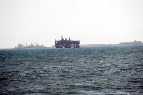 An oil rig in Sekondi waters, Ghana, is pictured on December 1, 2012