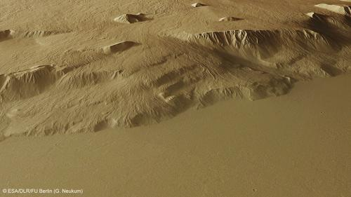 At the foot of the Red Planet's giant volcano