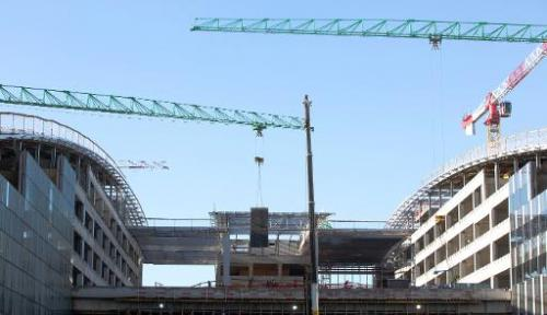 A view of the new NATO headquarters under construction in Brussels on November 13, 2013