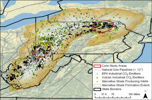 Carbon dioxide stored in Marcellus Shale wells could also boost gas production