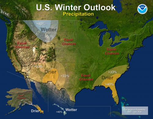 Drought likely to persist or develop in the Southwest, Southeastern U.S. this winter