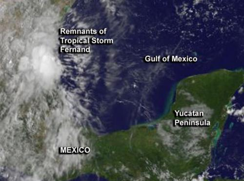 Fernand's remnants still drenching eastern Mexico