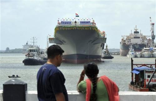 India unveils home-built aircraft carrier