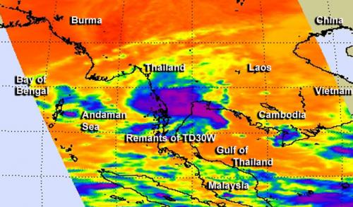 NASA sees former Tropical Depression 30W entering Indian Ocean