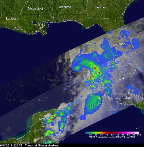 NASA sees heavy rainfall in tropical storm Andrea