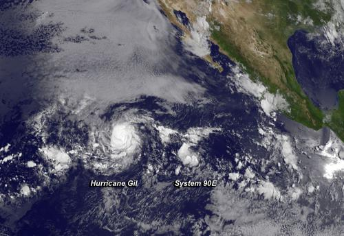 NASA sees Hurricane Gil being chased by developing storm