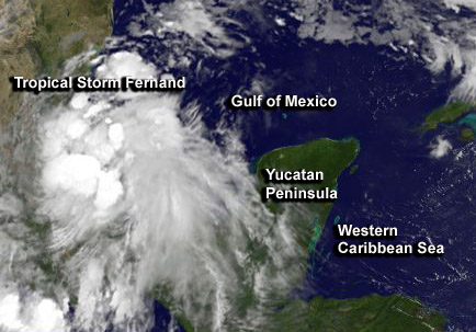 NASA sees quick forming Tropical Storm Fernand soaking Mexico