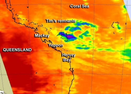 NASA sees remnants of Cyclone Tim fading near southeastern Queensland