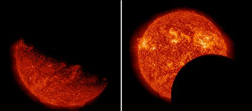 NASA's SDO observes Earth, lunar transits in same day
